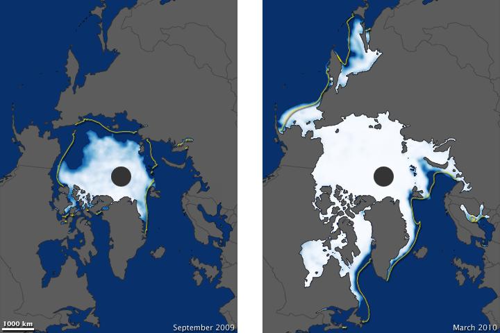 Arctic Sea Ice Extent, 2009-2010
