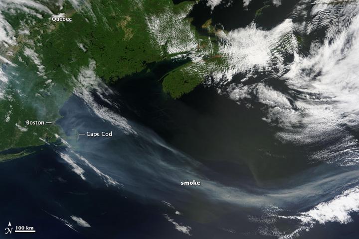Smoke over New England and the North Atlantic