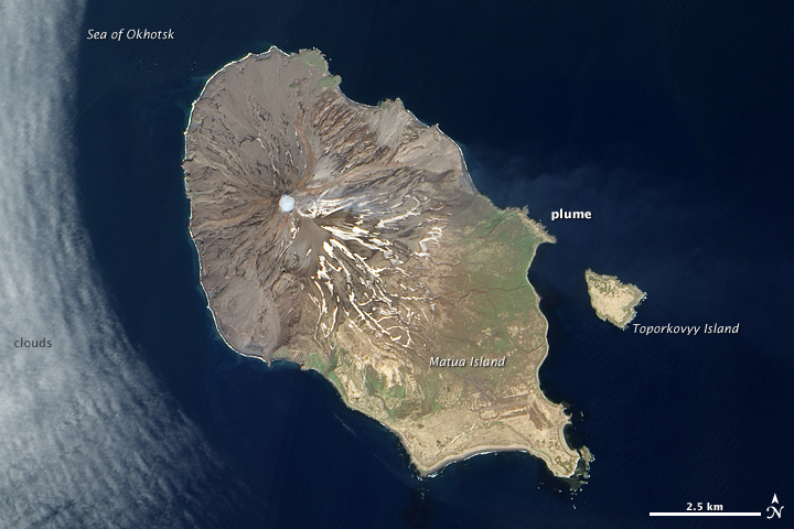 Plume from Sarychev Peak, Kuril Islands