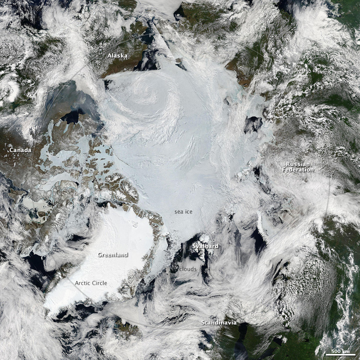 Sunny Skies over the Arctic in Late June 2010