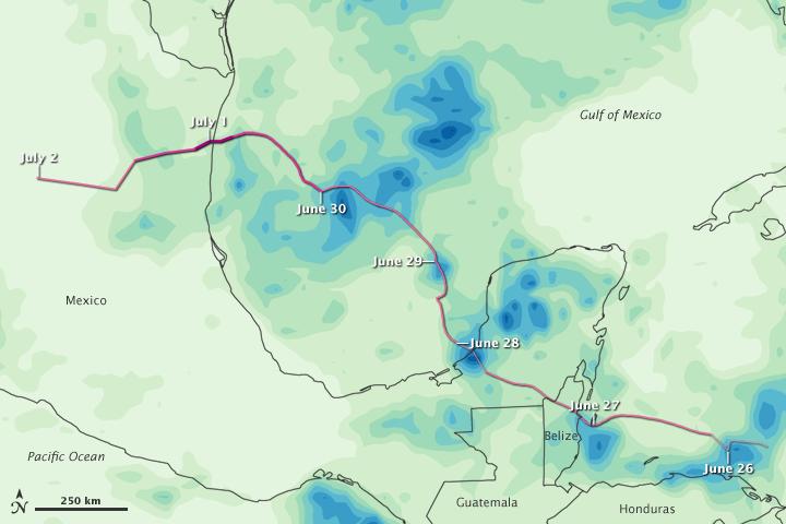 Rainfall from Hurricane Alex