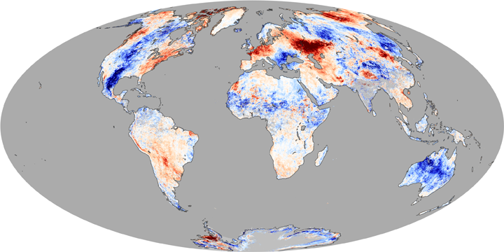 Land Surface Temperatures, Early July 2010