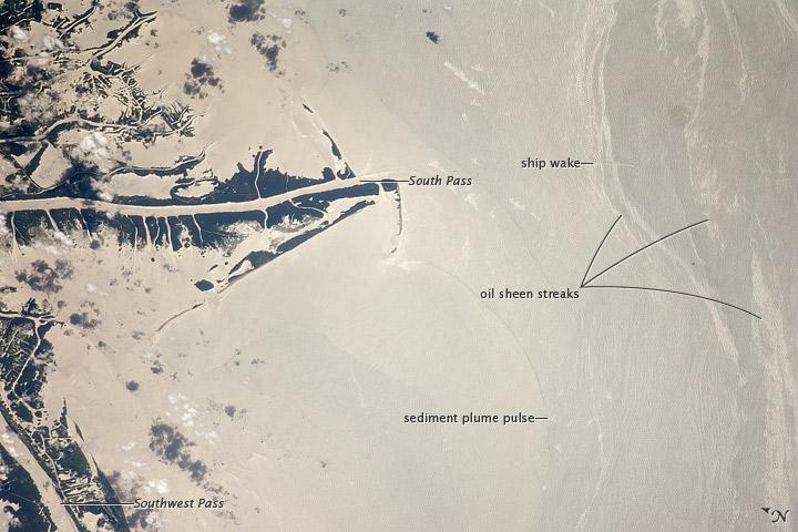 Oil Slick, Mississippi River Delta, Gulf of Mexico