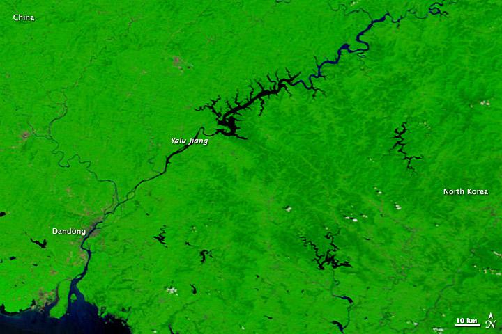 Flooding along the China-North Korea Border