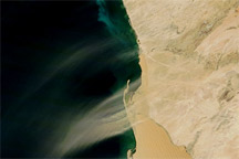 Hydrogen Sulfide and Dust Plumes along the Coast of Namibia