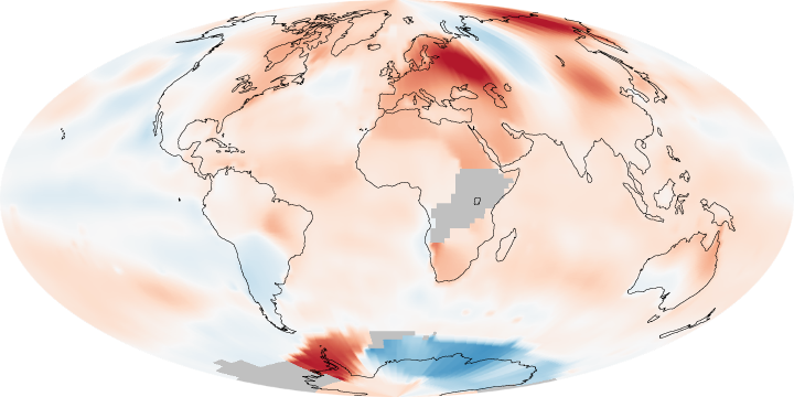 Global Temperature Anomalies, July 2010