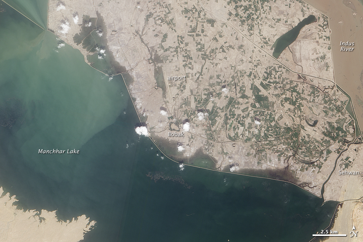 Flooding around Manchhar Lake, Pakistan