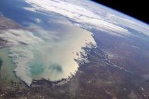 Smoke Plume, Caspian Sea, Kazakhstan