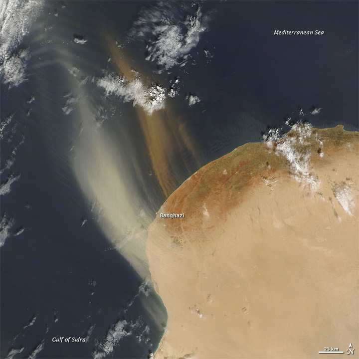 Dust Plumes off Libya