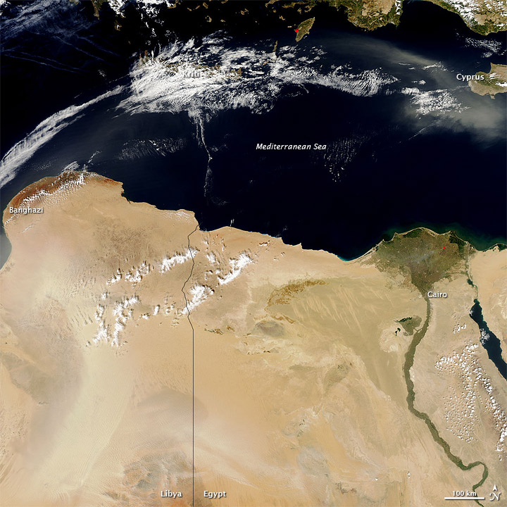 Dust over Egypt, Libya, and the Mediterranean Sea