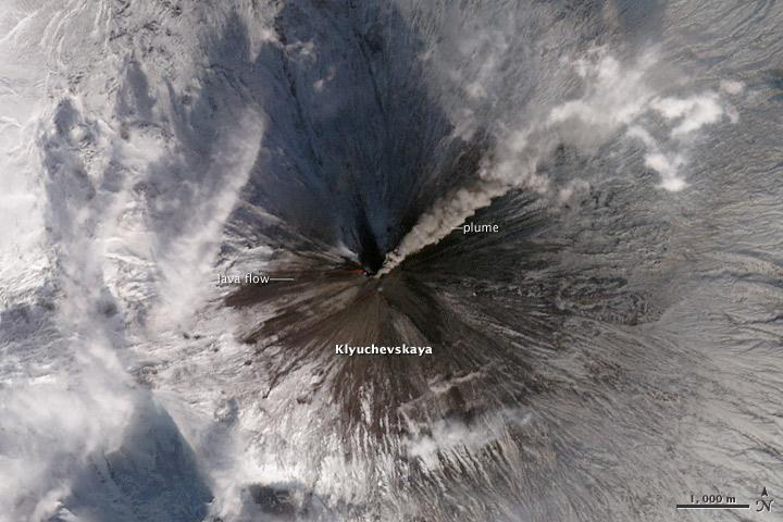 Lava Flows and Ash Plume from Klyuchevskaya Volcano