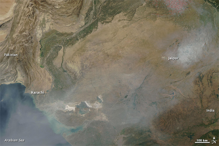 Haze from India to the Arabian Sea