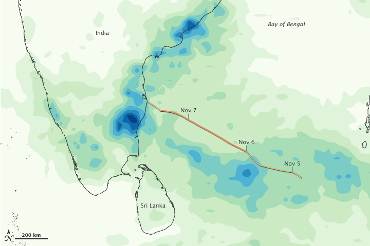 Rainfall from Cyclone Jal