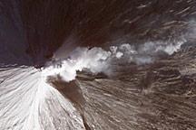 Lava and Snow on Klyuchevskaya Volcano