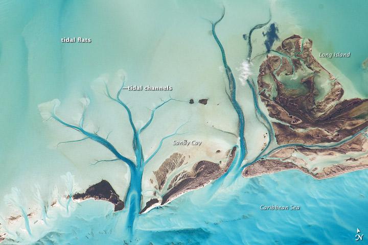 Tidal Flats and Channels, Long Island, Bahamas