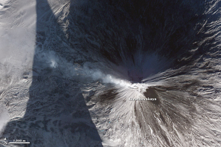 Lava and Snow on Klyuchevskaya Volcano