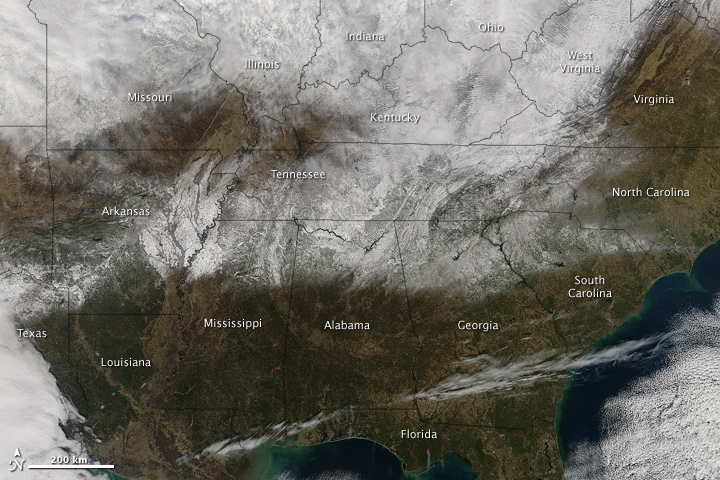 Rare Snow in the U.S. South