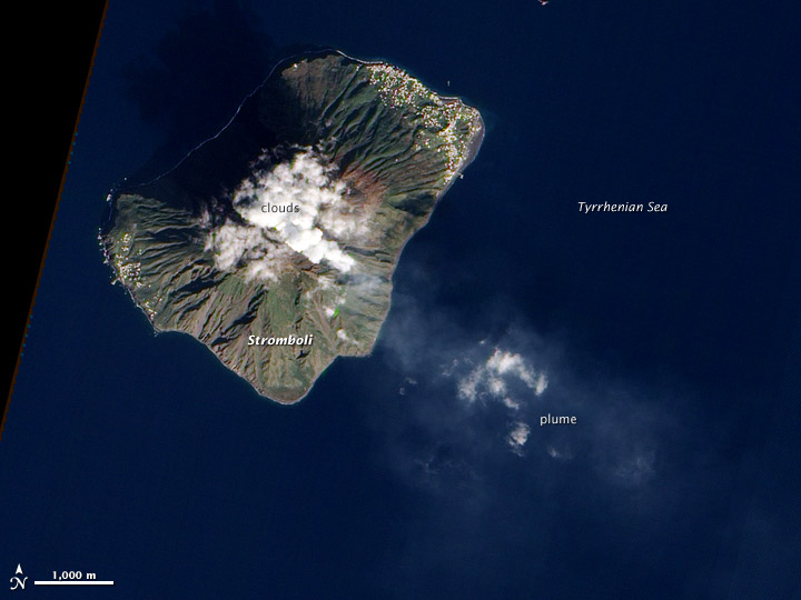 Eruption of Stromboli Volcano, Italy