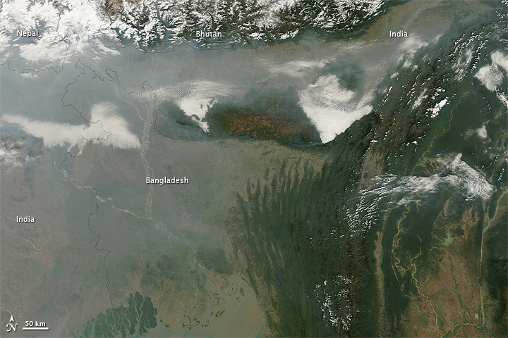 Haze over India and Bangladesh