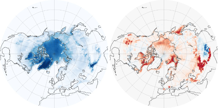 Melting Snow and Ice Warm Northern Hemisphere