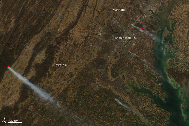 Fires in Maryland and Virginia