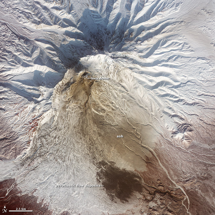 Pyroclastic Flow Remnants at Shiveluch Volcano