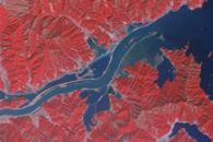 Flooding along the Kitakami River, Japan