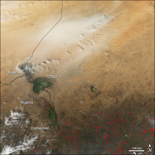 Dust Storm and Fires in Central Africa