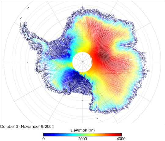 Antarctica's Land and Ice Elevation