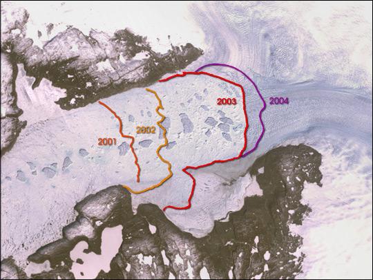 Retreating Terminus of the Jakobshavn Isbrae Glacier