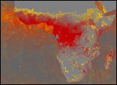 Aerosols and Carbon Monoxide over Africa and Asia