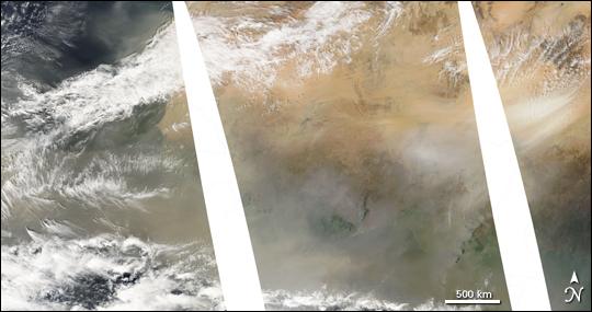 Dust Storm off the Western Sahara Coast
