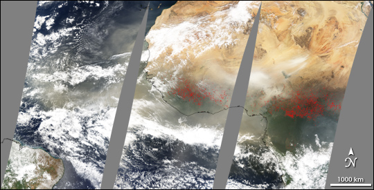 African dust blows across the Atlantic