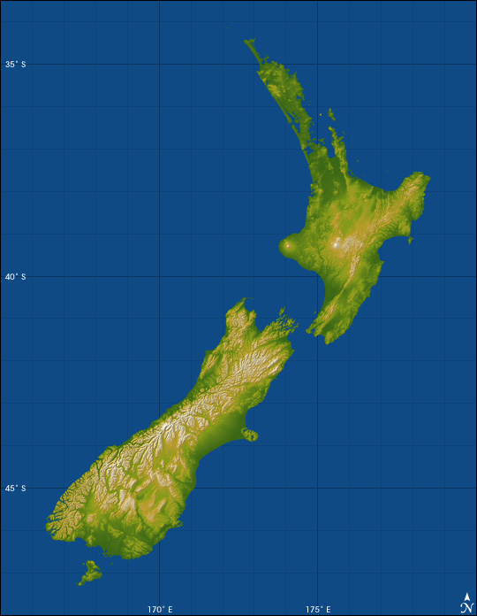 Topography of New Zealand