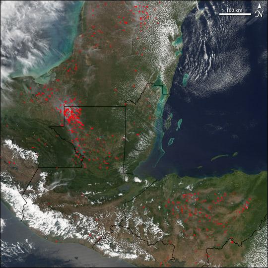 Fires in Laguna del Tigre National Park