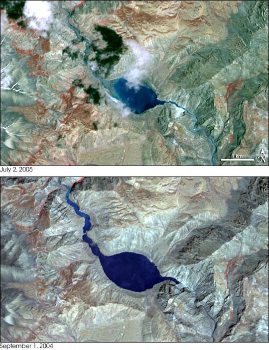 Landslide Lake in Tibet Floods India