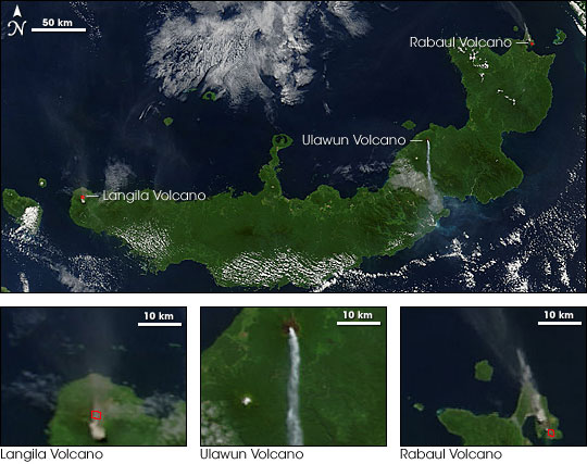 Langila, Ulawun, and Rabaul Volcanoes Erupt