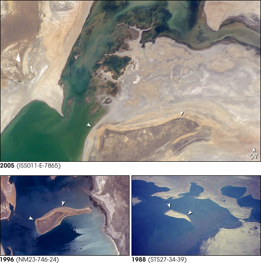 Retreating Aral Sea Coastlines