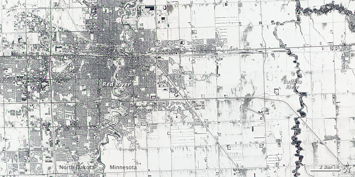 Receding Snow Sets Stage for Floods near Fargo