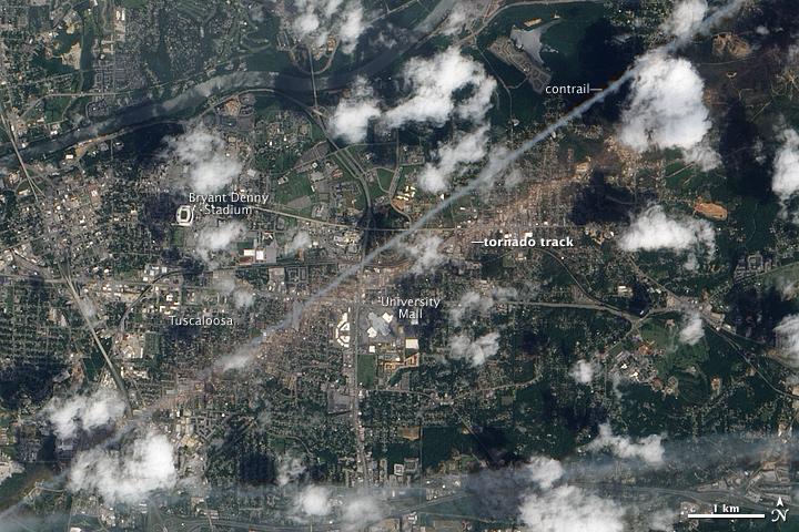Tornado Track in Tuscaloosa, Alabama
