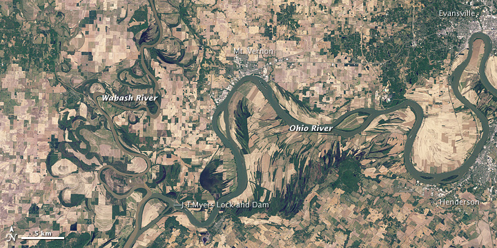 Flooding along the Wabash and Ohio Rivers