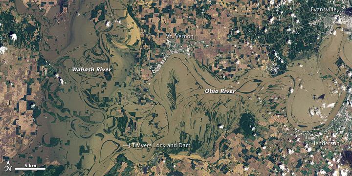 Flooding along the Wabash and Ohio Rivers