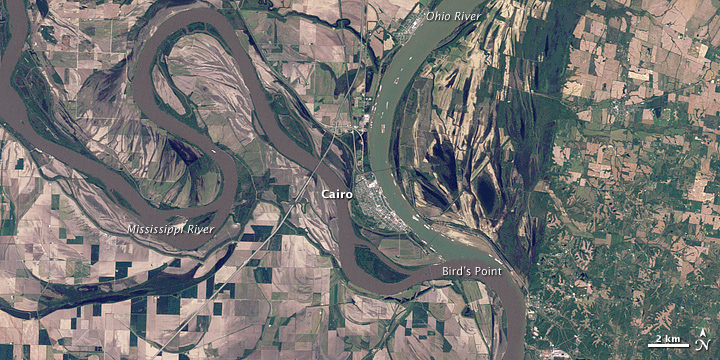 Flooding at the Junction of the Mississippi and Ohio Rivers