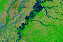 Floods Spread South along the Mississippi River
