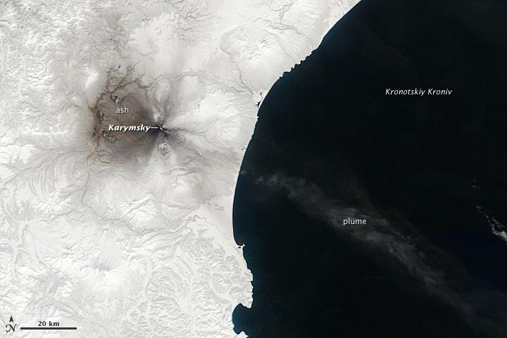 Ashfall from Karymsky Volcano