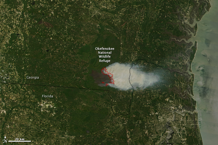 Okefenokee Fire Map.Honey Prairie Fire Georgia
