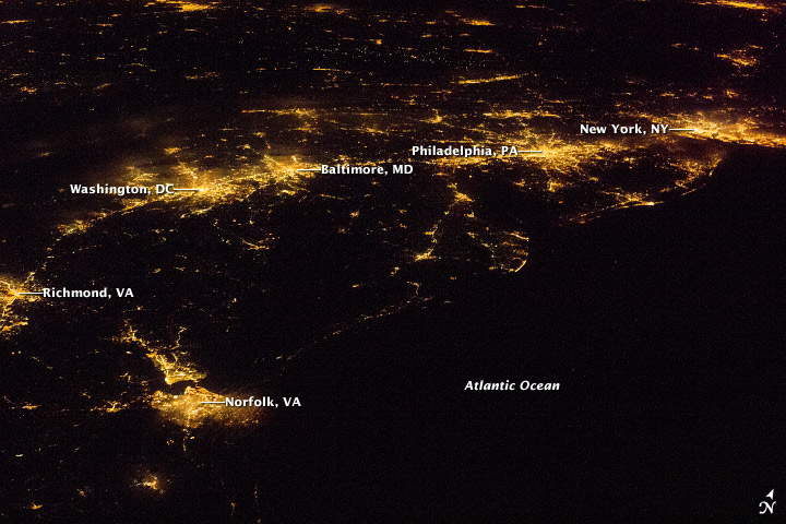 U.S. Atlantic Seaboard at Night