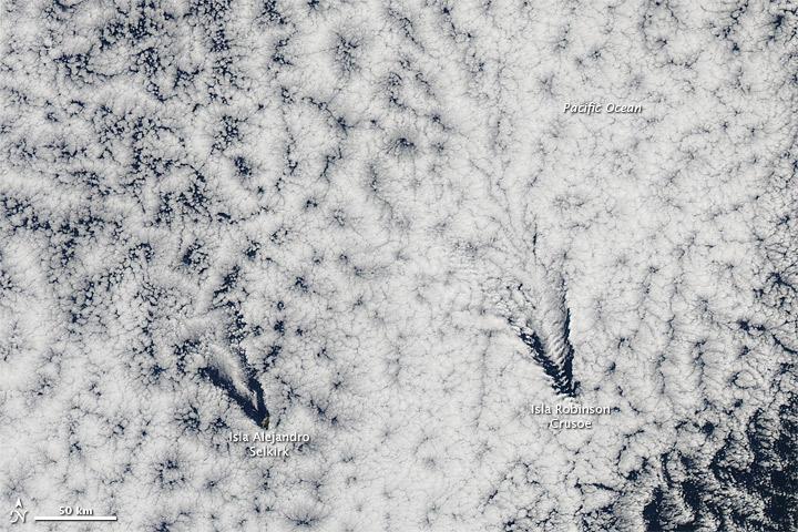 Cloud Wakes from Juan Fernandez Islands