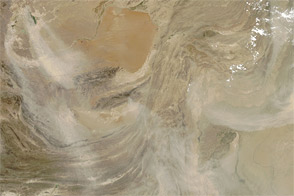 Dust over Southwestern Asia and the Arabian Sea