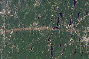 Tornado Track near Sturbridge, Massachusetts
